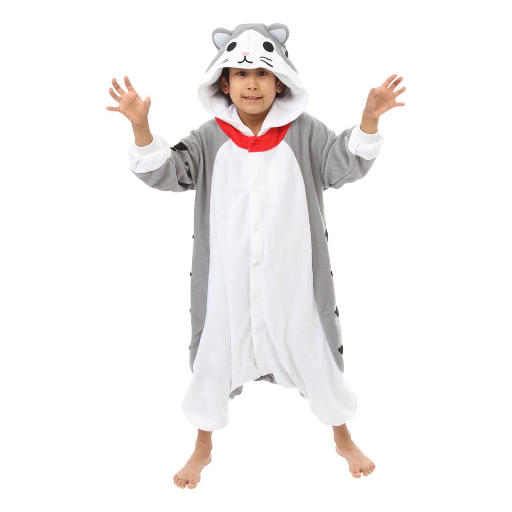 Grå Katt Barn Kigurumi - Partykungen.se 98fe603e93512