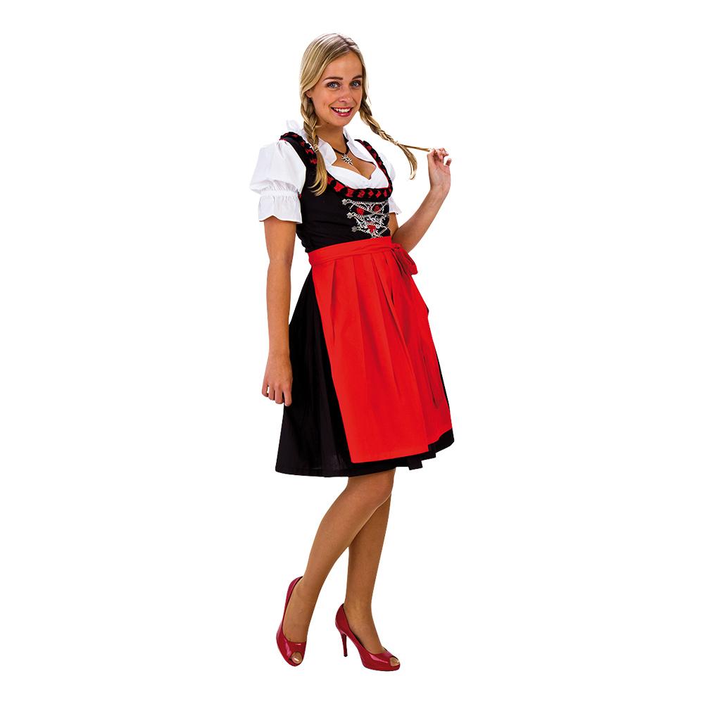 7b3042414ba8 Oktoberfest Dirndl Sort Rødt Kostume - Partyking. dk