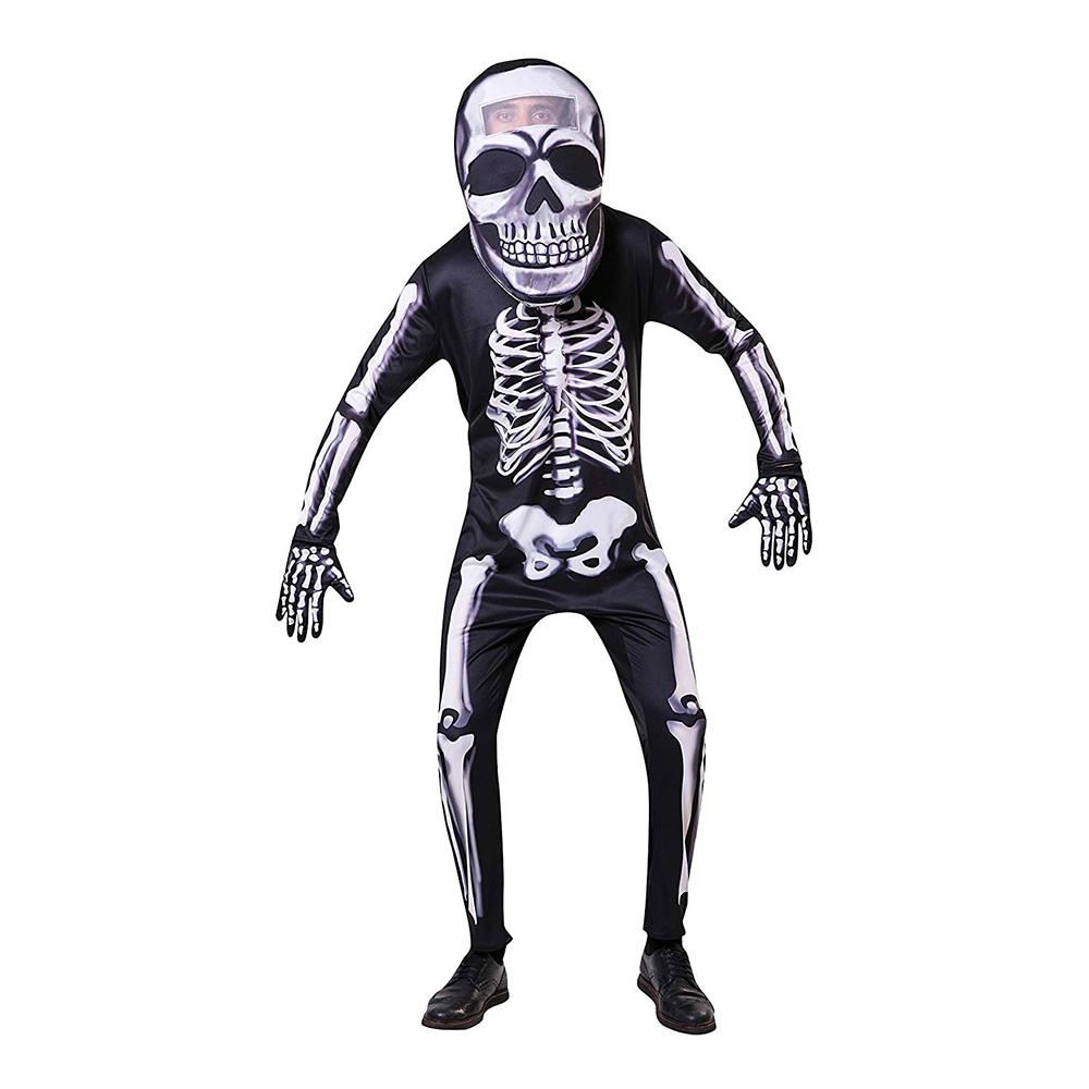 Skelett med Stort Huvud Maskeraddräkt - Partykungen.se f9ecdbddb291f