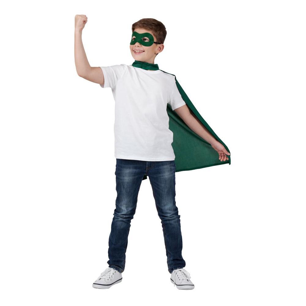 abed36fefff7 Superhelte Kappe med Maske Grøn Børn - Partyking. dk