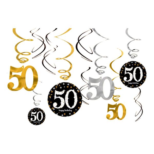Swirls 50 Guld/Silver Hängande Dekoration