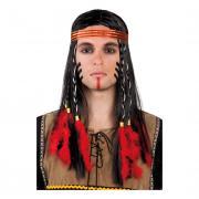 Indianhövding med Pannband Peruk