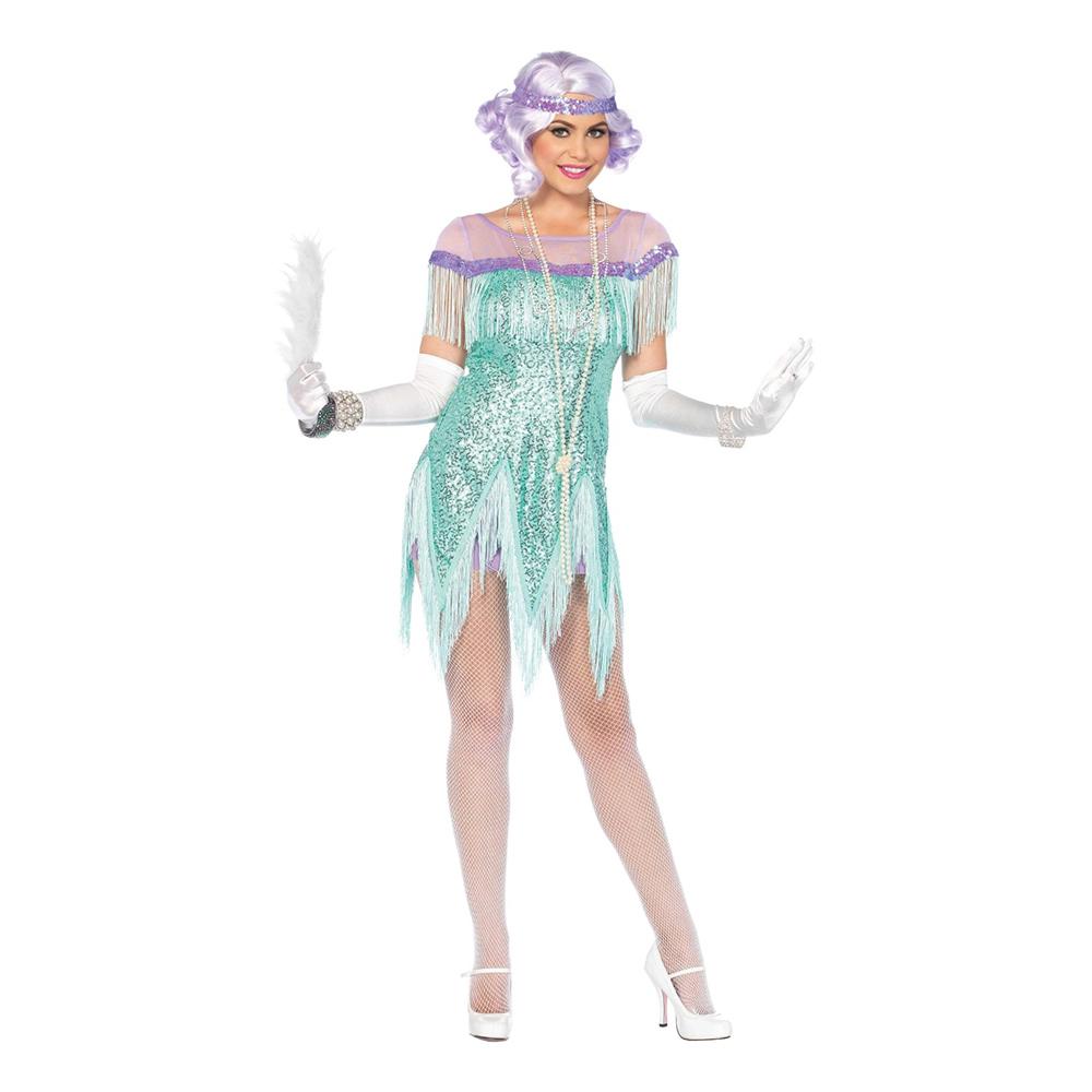 20-tals Foxtrotklänning Havsblå Deluxe Maskeraddräkt - Small till ... 89716599d8d17
