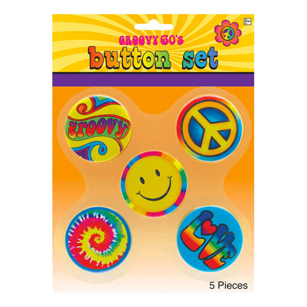 60-tals Hippie Knappar - 5-pack