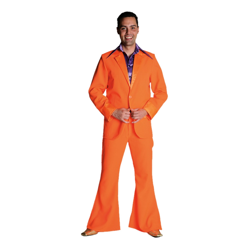 70-tals Kostym Orange Maskeraddräkt - Medium