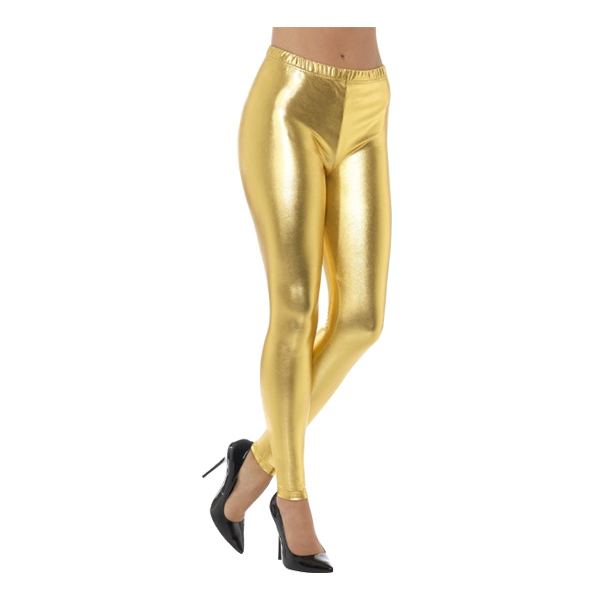 80-tals Metallic Disco Leggings Guld - Small