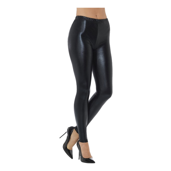 80-tals Metallic Disco Leggings Svarta - Small