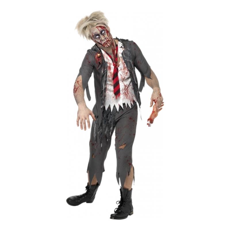 Zombie Skolpojke Maskeraddräkt - Medium