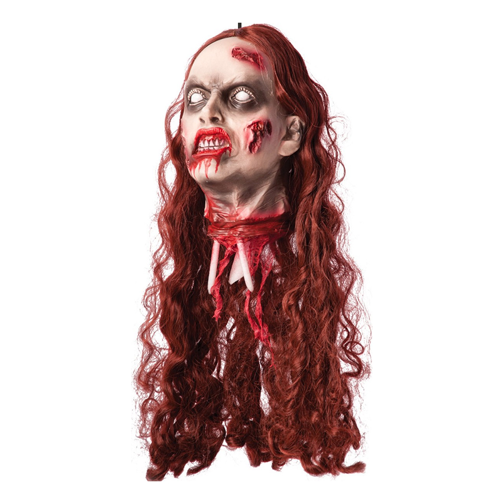 Avhugget Zombiehuvud med Rött Hår Prop