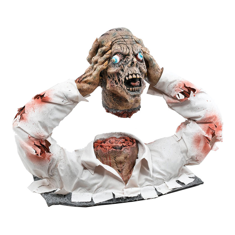 Avhugget Zombiehuvud med Torso Prop