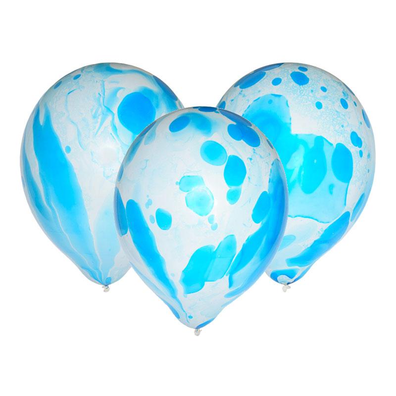 Ballonger Marmor Blå - 6-pack