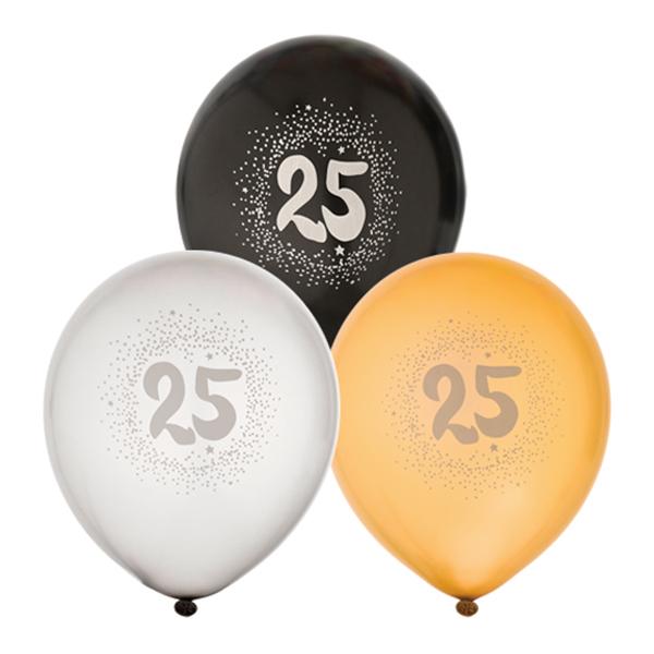 Ballonger Svart/Vit/Guld 25 - 6-pack