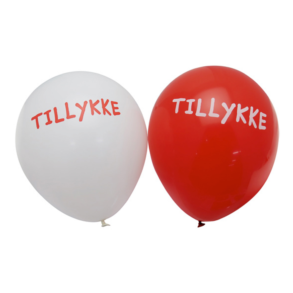 Ballonger Tillykke Röd/Vit - 6-pack