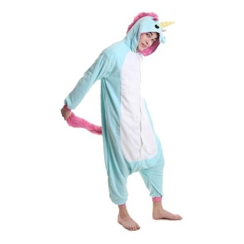 Blå Enhörning Kigurumi - Medium