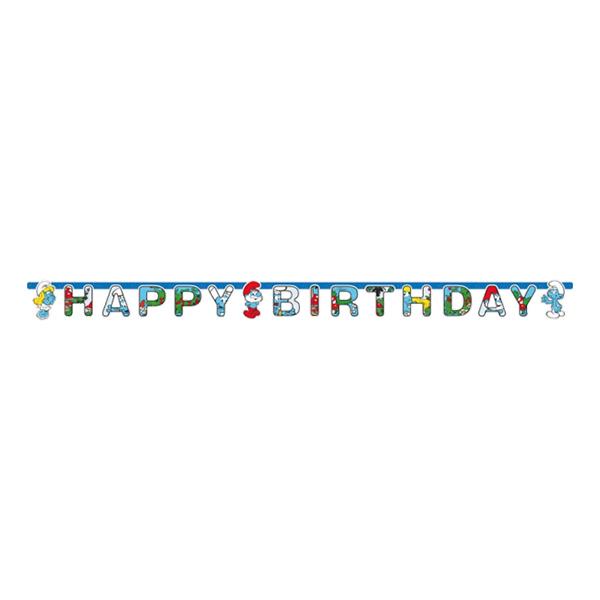 Bokstavsgirlang Happy Birthday Smurfarna
