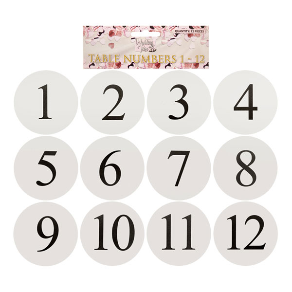 Bordskort med Siffror - 12-pack