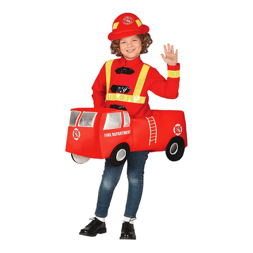 Brandman med Bil Barn Maskeraddräkt - Medium