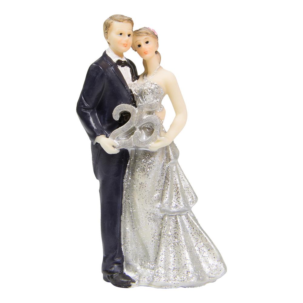Bröllopsfigur Brudpar 25 Silver