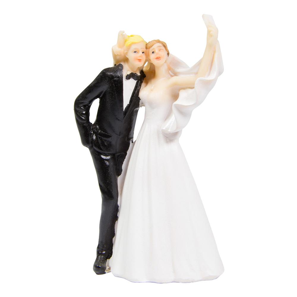 Bröllopsfigur Brudpar Selfie