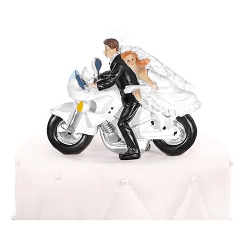 Bröllopsfigur Nygift på Motorcykel