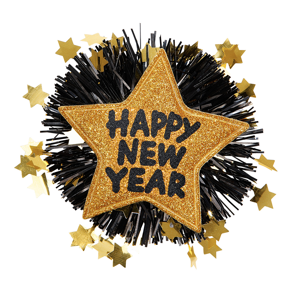Brosch Happy New Year Guld