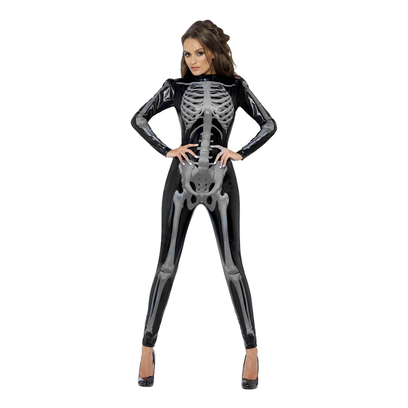 Catsuit Skelett Maskeraddräkt - Medium