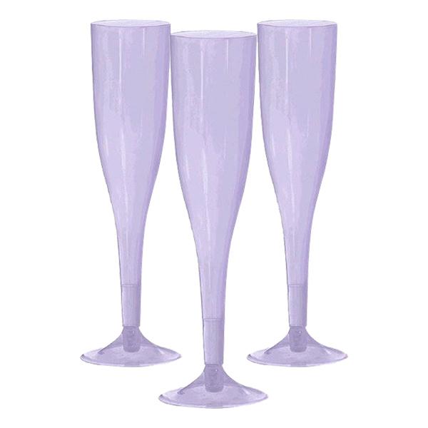 Champagneglas av Plast Ljuslila - 20-pack