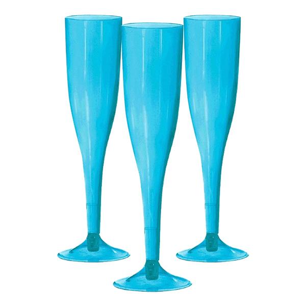 Champagneglas av Plast Turkosa - 20-pack