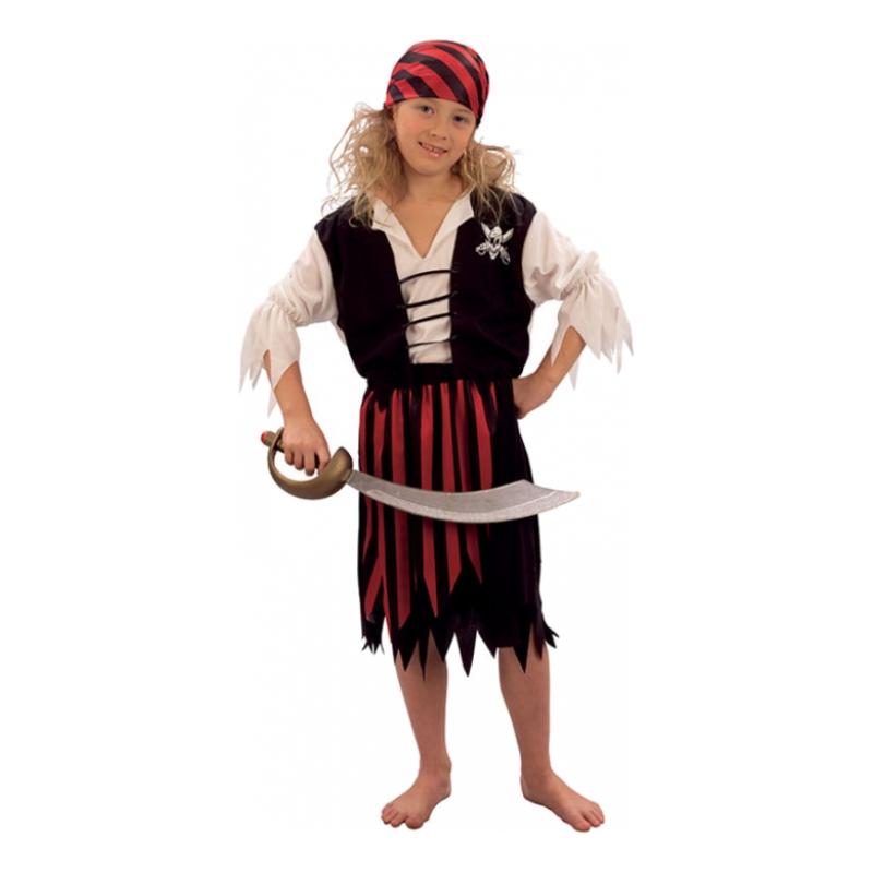 Randig Piratflicka Barn Maskeraddräkt - Small