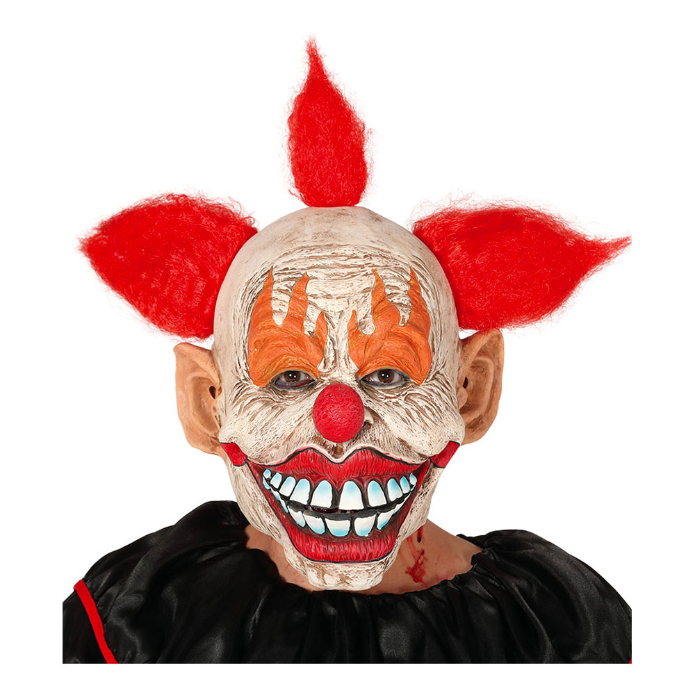 Clown Halloween Mask med Hår - One size