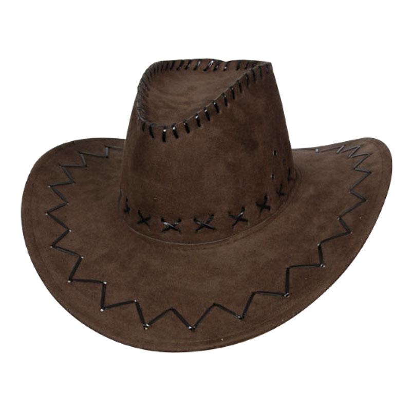 Cowboyhatt Brun med Stygn - One size