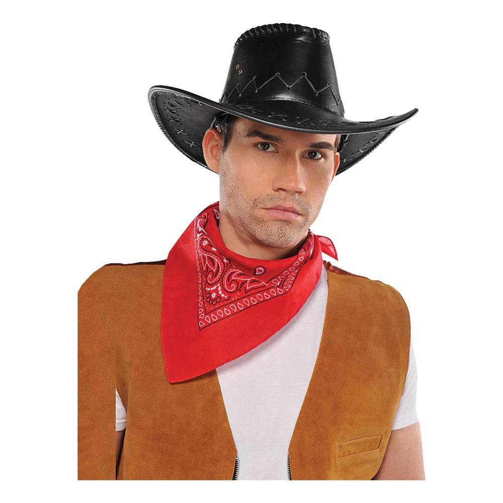 Cowboyhatt Svart Läderimitation - One size