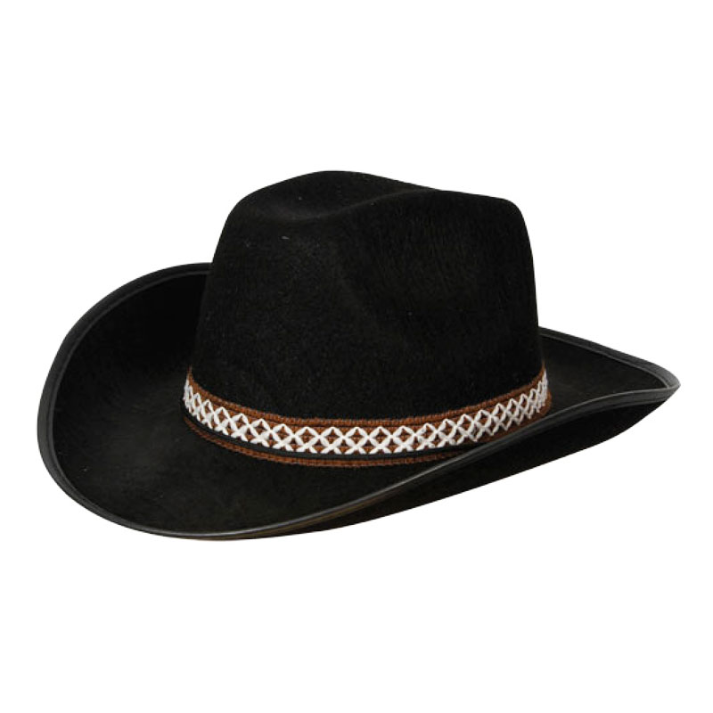 Cowboyhatt Svart med Band - One size