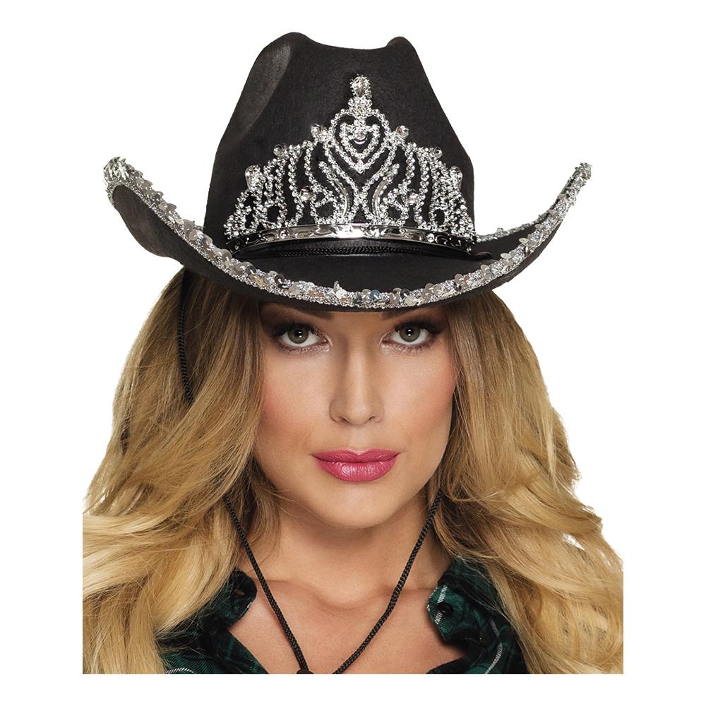 Cowboyhatt Svart med Tiara - One size