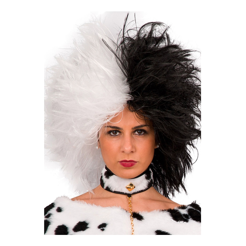 Cruella Svart/Vit Peruk - One size