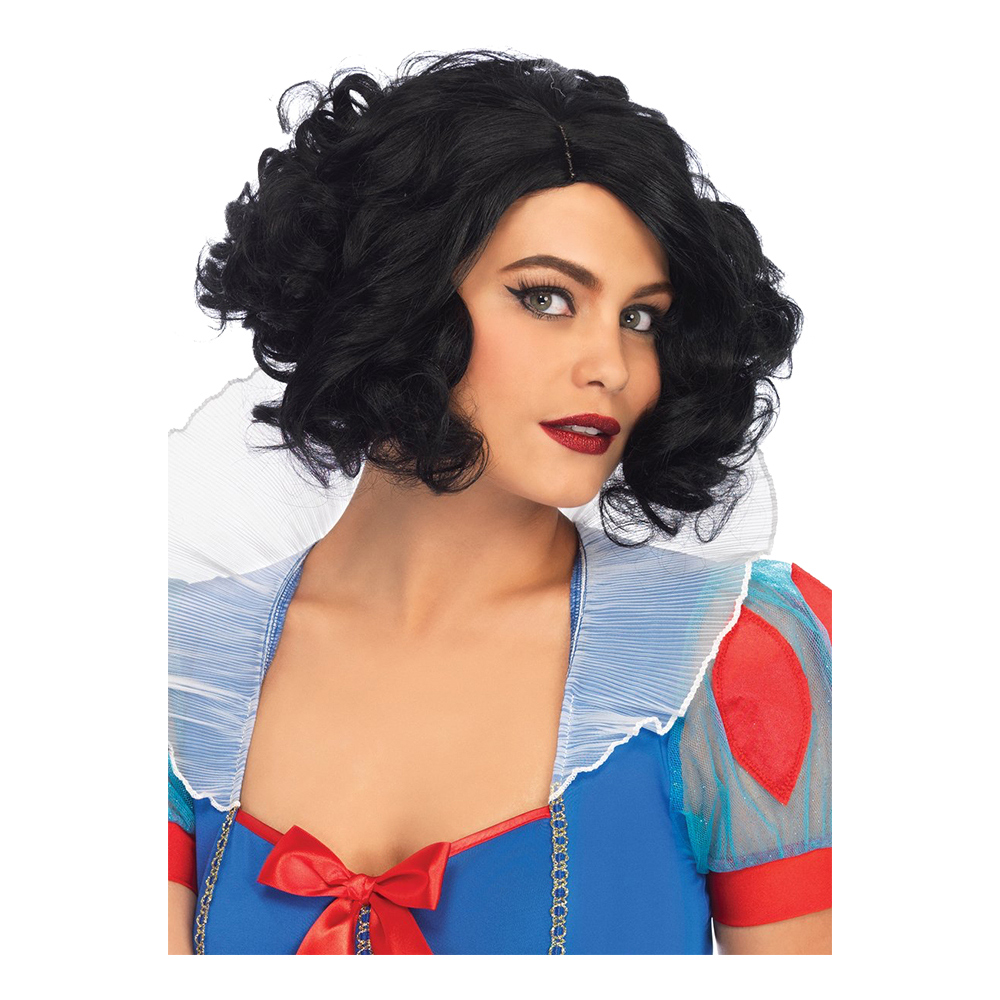 Curly Bob Svart Deluxe Peruk - One size