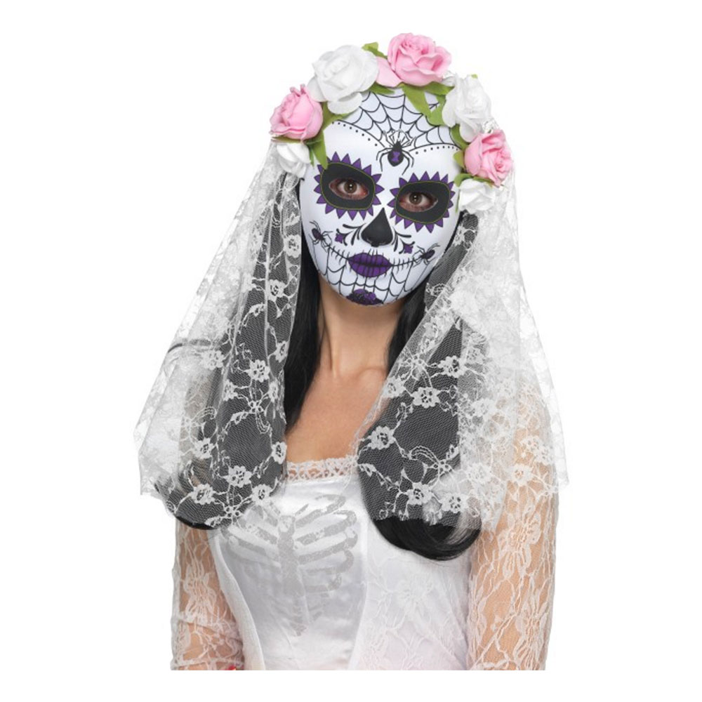 Day of the Dead Mask med Slöja Vit - One size