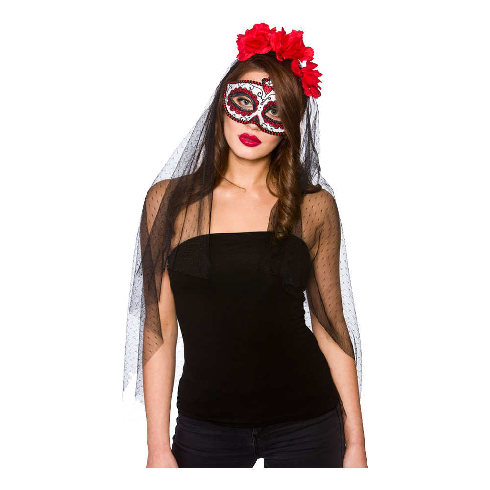 Day of the Dead Deluxe Mask med Slöja - One size