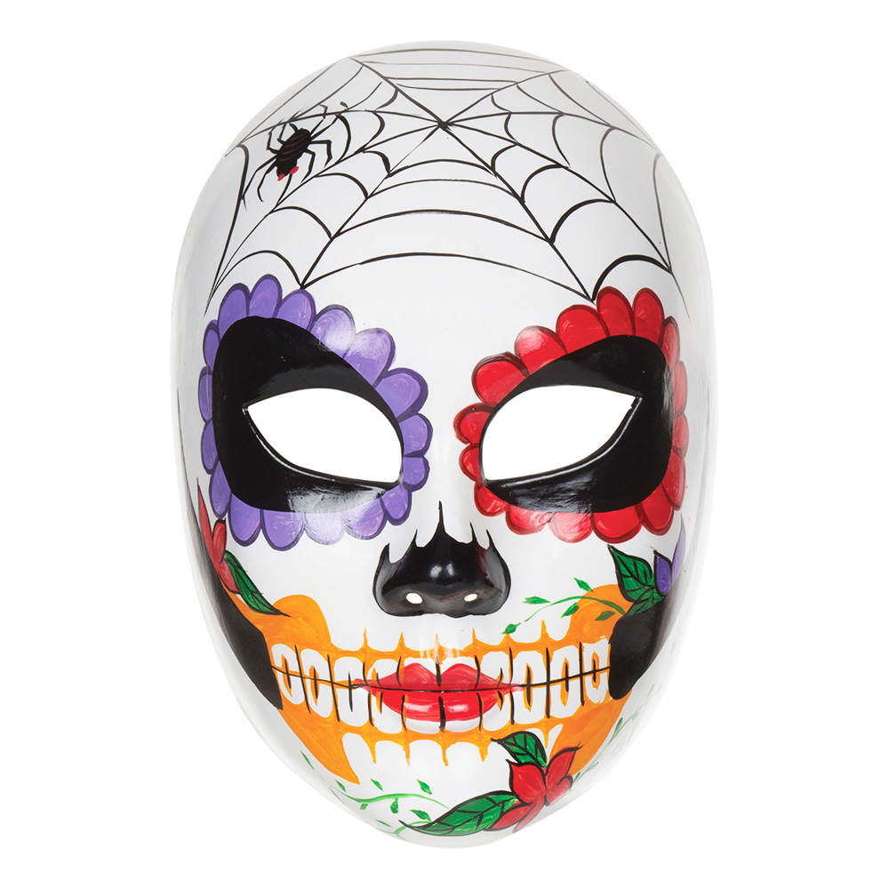 Day of the Dead Mask med Spindelnät - One size
