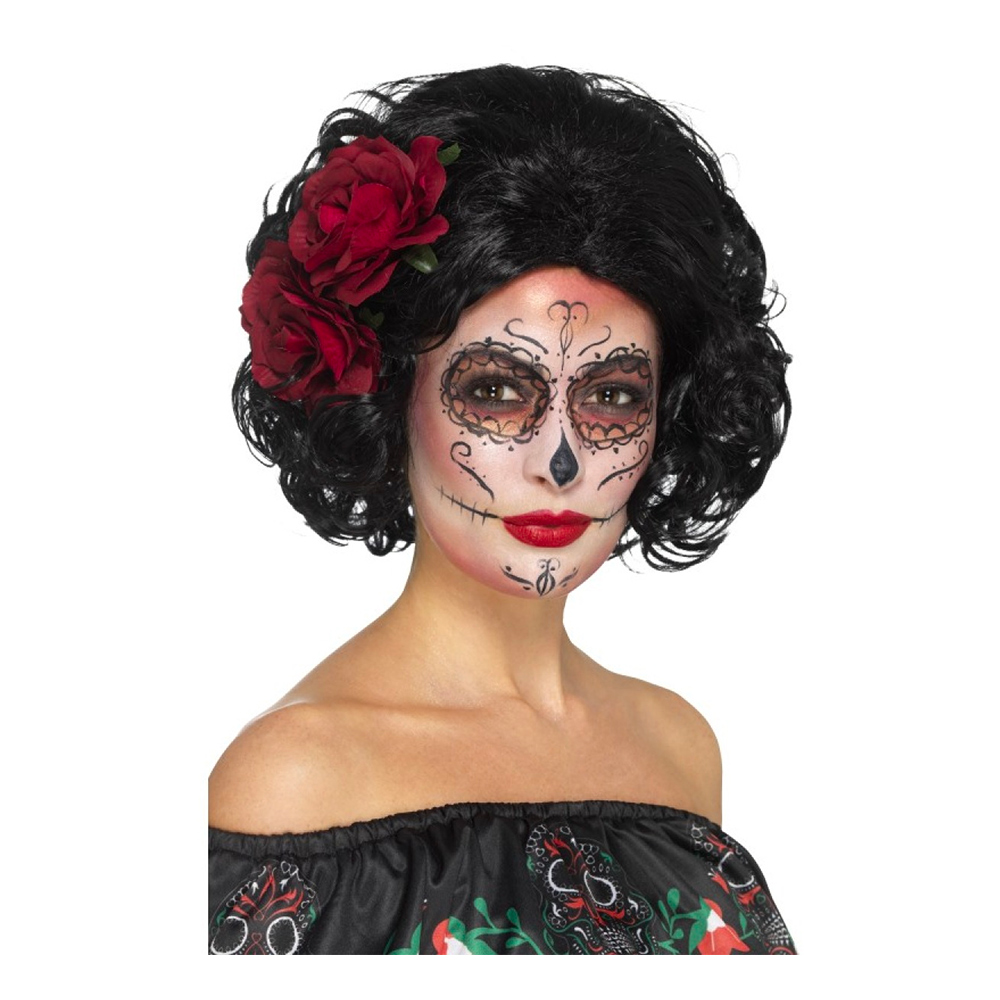 Day of the Dead Kort Svart Peruk - One size