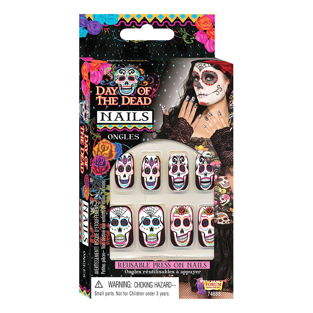 Day of the Dead Lösnaglar - 10-pack