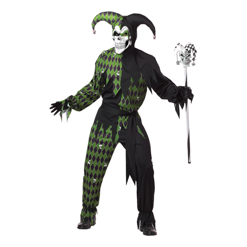 Den elake Gycklaren Grön/Svart Maskeraddräkt - Medium