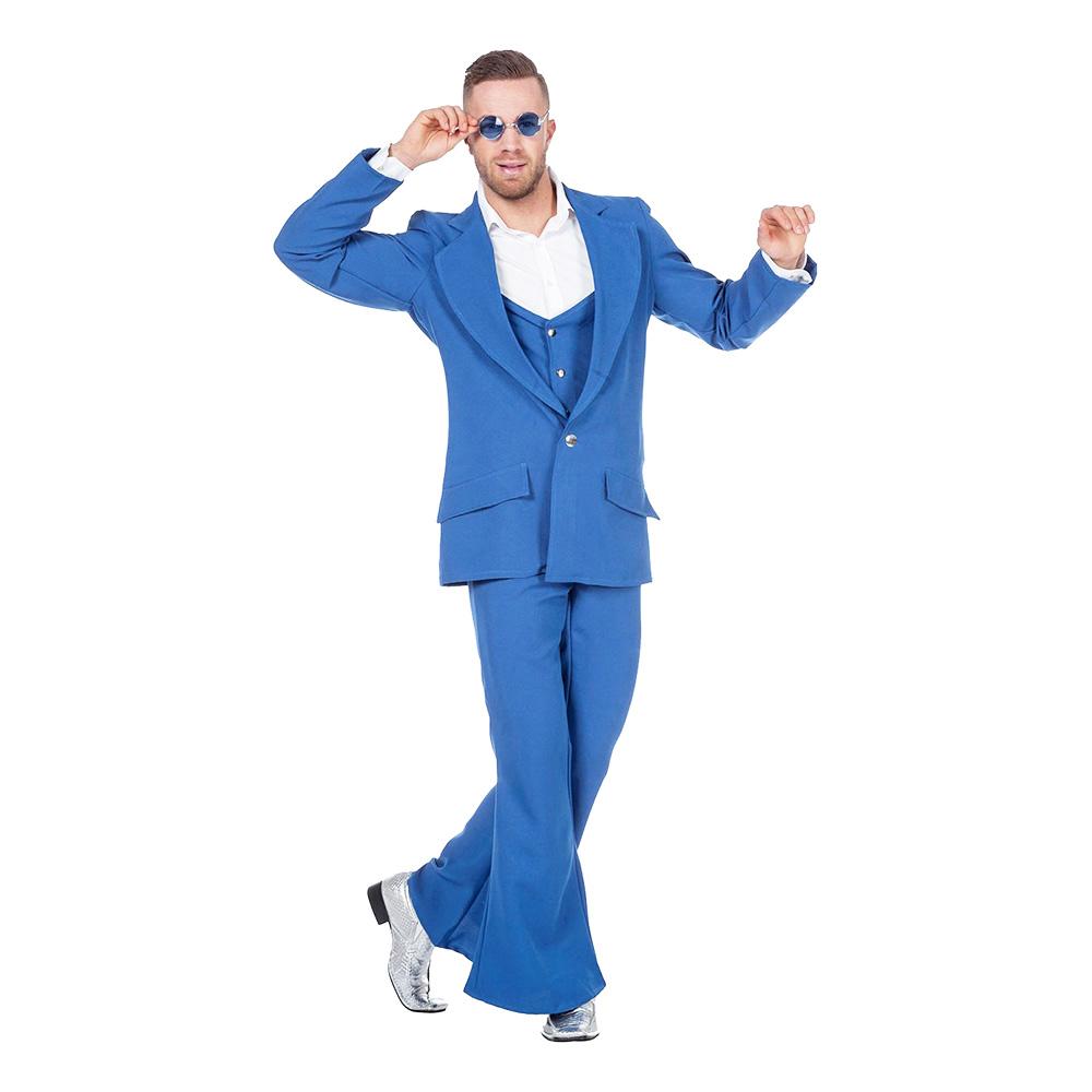 Disco Kostym Blå Maskeraddräkt - Small