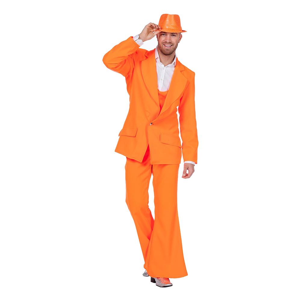 Disco Kostym Orange Maskeraddräkt - Small