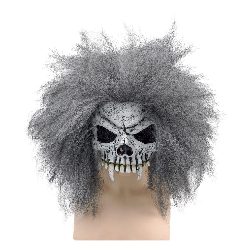 Dödskalle Halvmask med Hår - One size