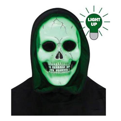 Döskallemask LED med Huva Grön - One size