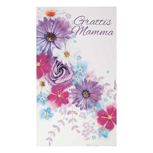 Dubbelkort Grattis Mamma Lila Blommor