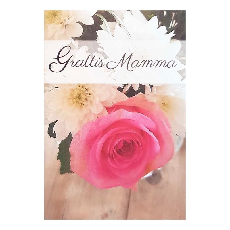 Dubbelkort Mini Grattis Mamma Blommor