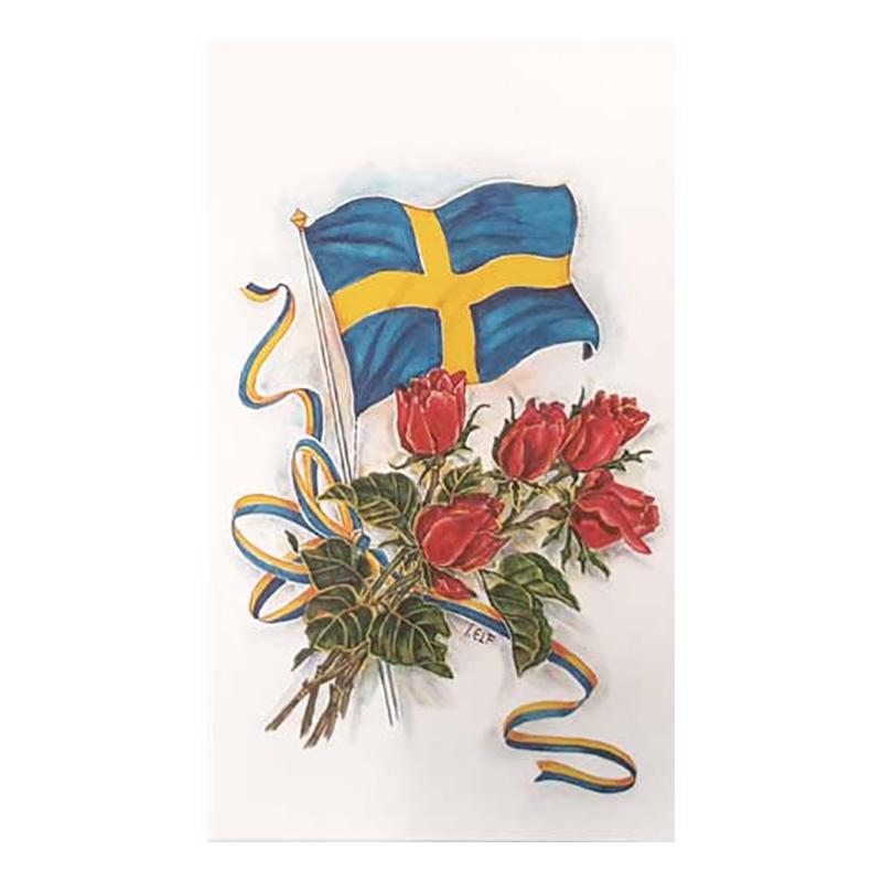 Dubbelkort Svensk Flagga med Röda Rosor