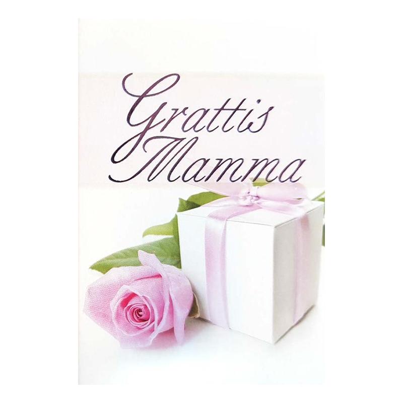 Dubellkort Mini Grattis Mamma Rosa Ros och Paket